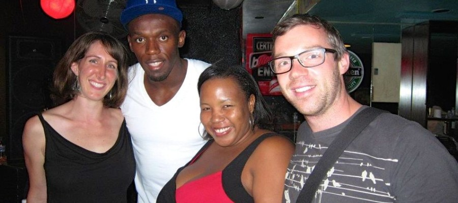 Janeen Johnson and friends meet Usain Bolt